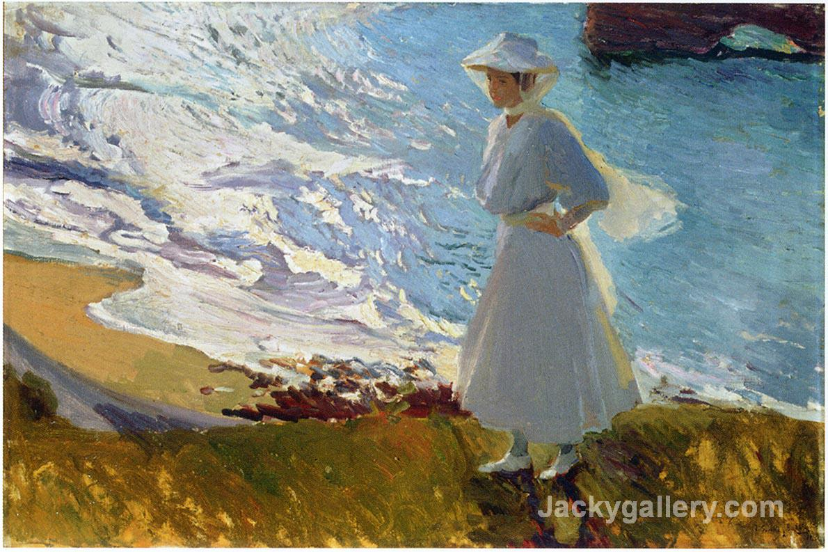 Maria at the Beach, Biarritz by Joaquin Sorolla y Bastida paintings reproduction