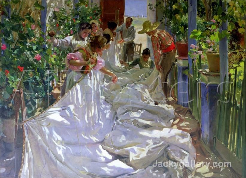 Mending the Sail by Joaquin Sorolla y Bastida paintings reproduction