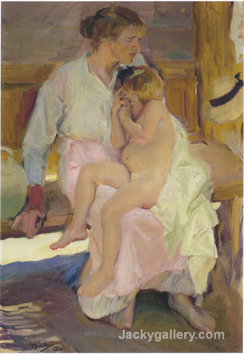 Mother and daughter, Valencia beach by Joaquin Sorolla y Bastida paintings reproduction