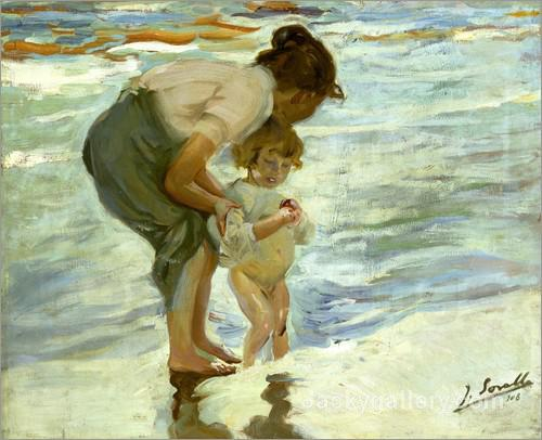 Mutter und Kind am Strand. by Joaquin Sorolla y Bastida paintings reproduction