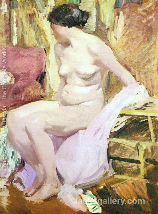 Nude woman by Joaquin Sorolla y Bastida paintings reproduction