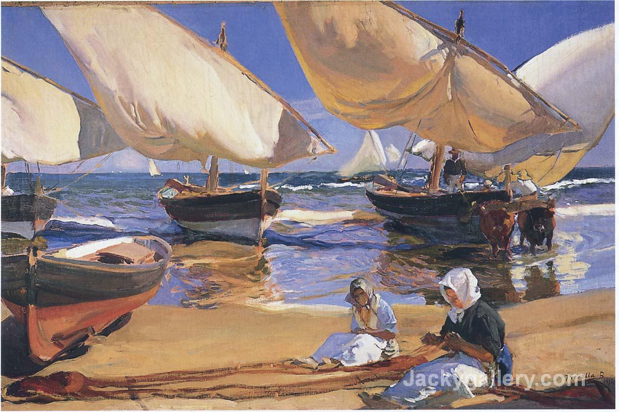 On the Beach at Valencia by Joaquin Sorolla y Bastida paintings reproduction