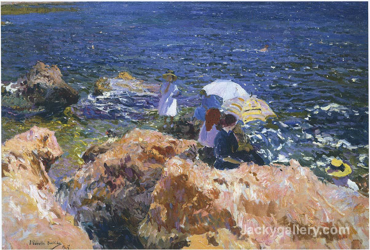 On the Rocks at Javea by Joaquin Sorolla y Bastida paintings reproduction