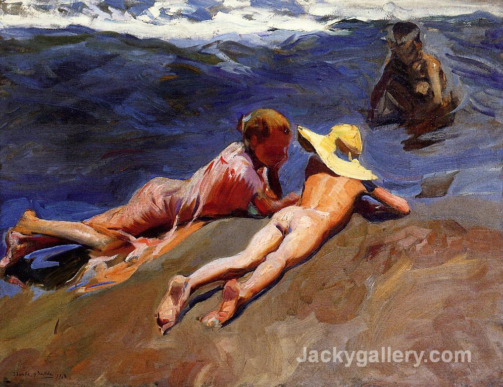 On the Sand, Valencia Beach by Joaquin Sorolla y Bastida paintings reproduction