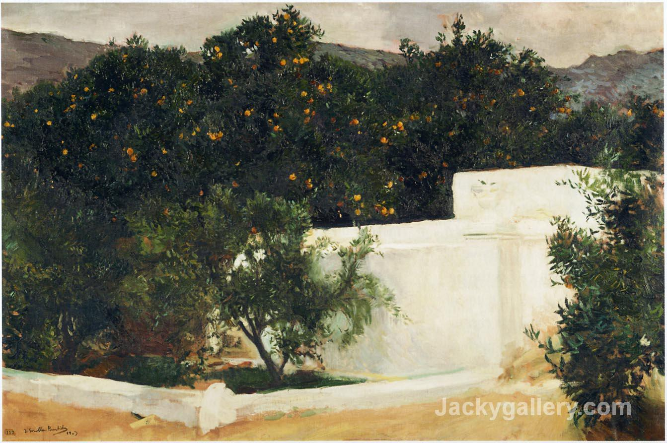 Orange trees on the road to Seville by Joaquin Sorolla y Bastida paintings reproduction
