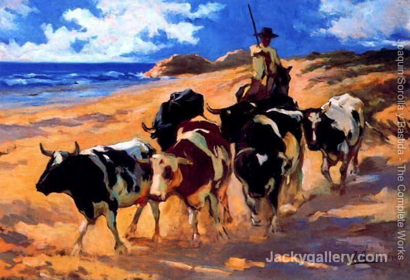 Oxen on the beach by Joaquin Sorolla y Bastida paintings reproduction