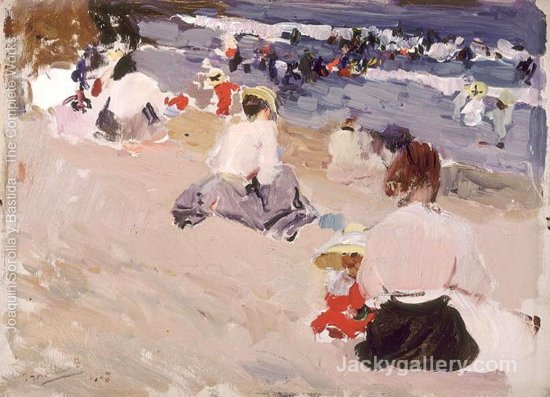 People Sitting on the Beach by Joaquin Sorolla y Bastida paintings reproduction