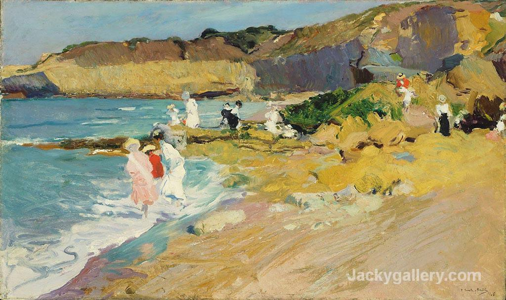 Rocks and the Lighthouse, Biarritz by Joaquin Sorolla y Bastida paintings reproduction