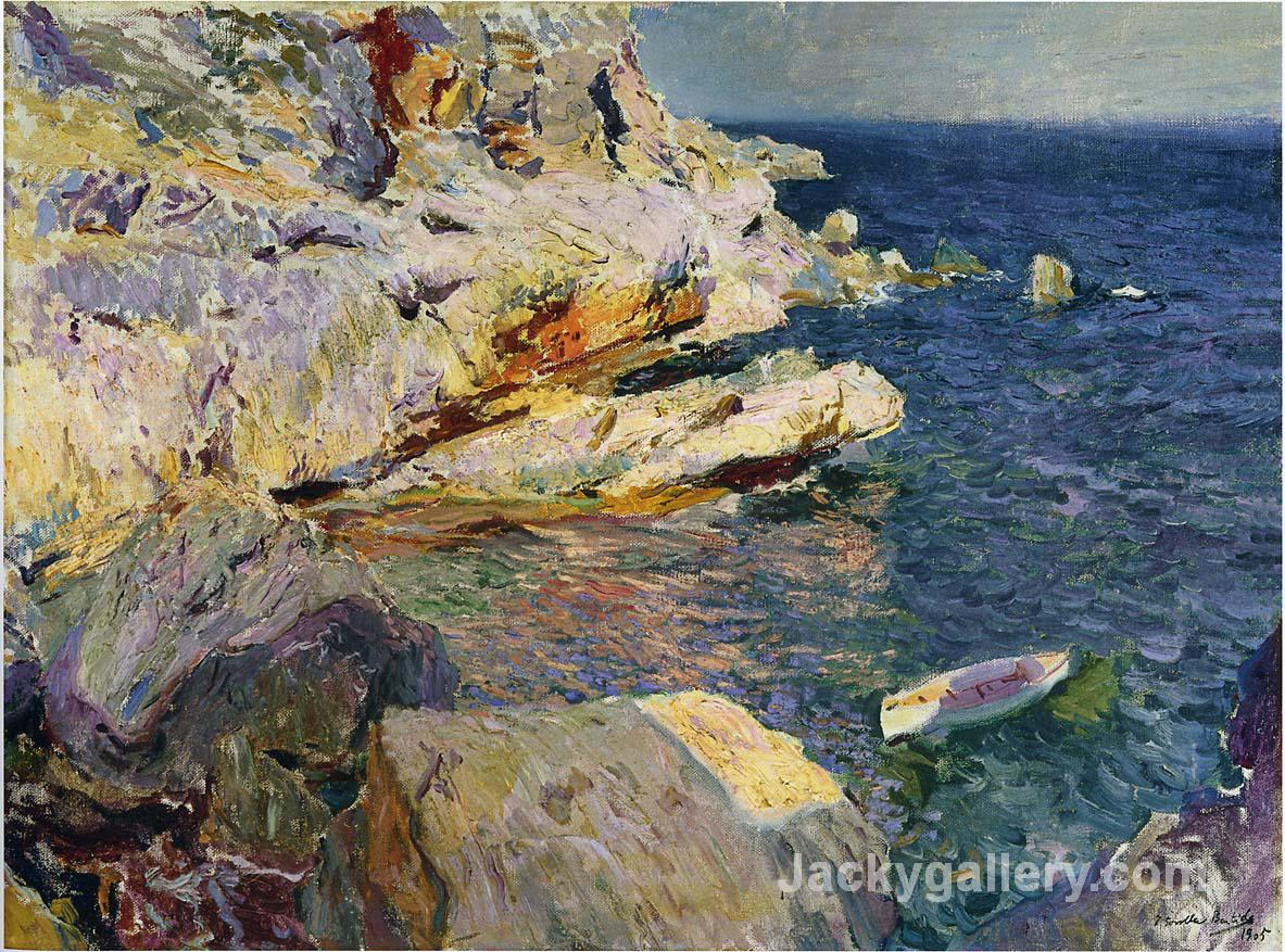 Rocks and white boat, Javea by Joaquin Sorolla y Bastida paintings reproduction