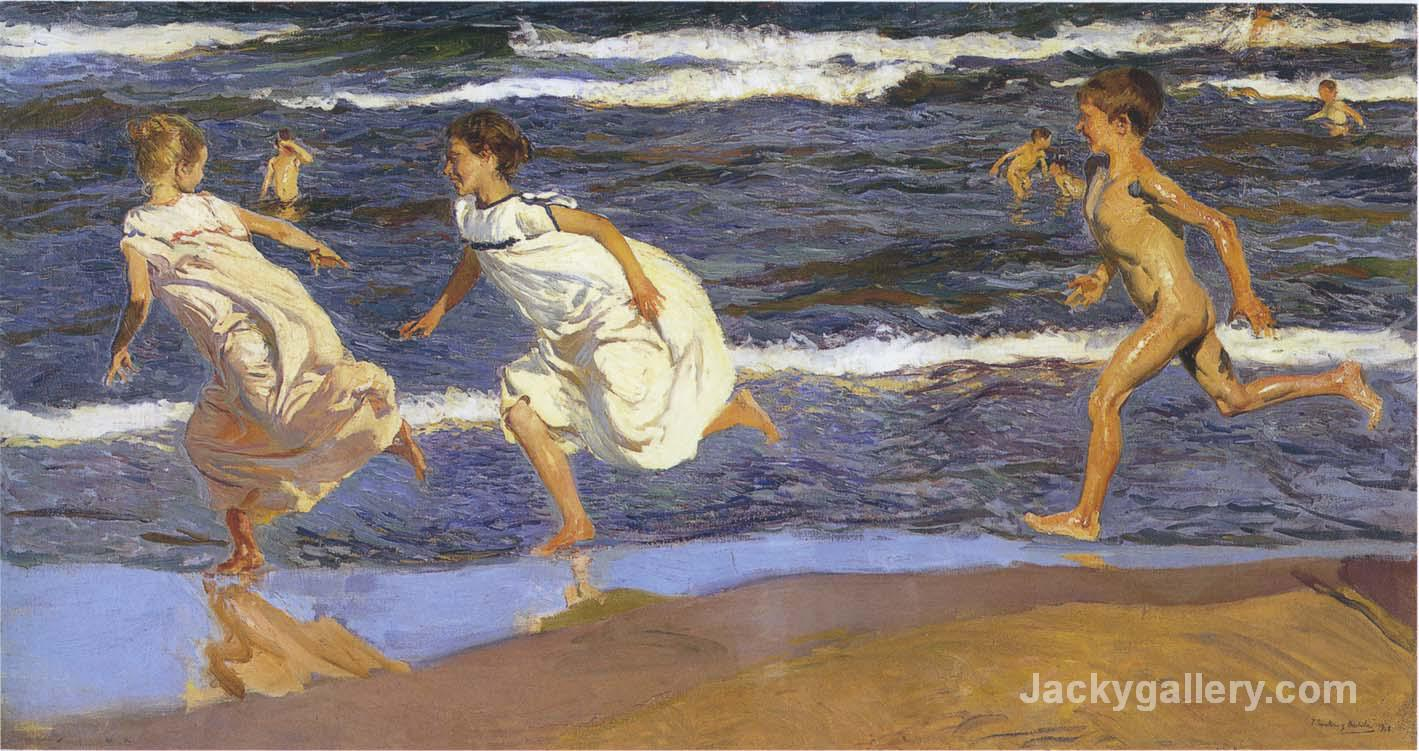 Running along the beach by Joaquin Sorolla y Bastida paintings reproduction