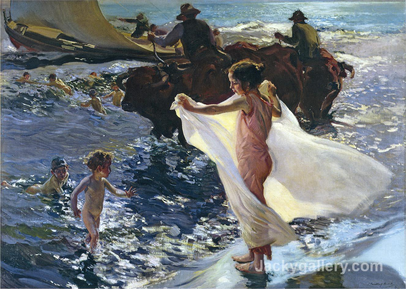 The bathing hour by Joaquin Sorolla y Bastida paintings reproduction