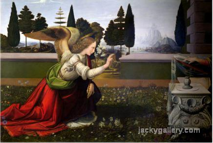 Angel Gabriel, from the Annunciation, 147 75 Detail, Leonardo Da Vinci's high quality hand-painted oil painting reproduction