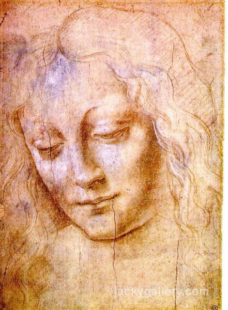 Head of a Young Woman, Leonardo Da Vinci's high quality hand-painted oil painting reproduction