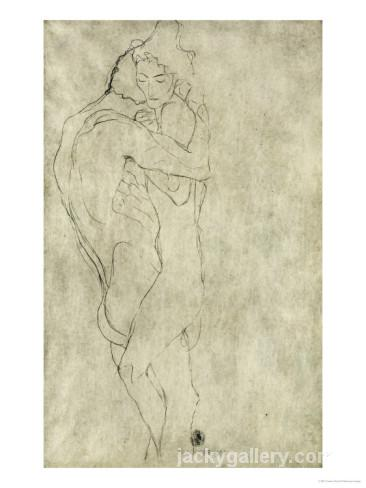 Lovers, Black Crayon, Leonardo Da Vinci's high quality hand-painted oil painting reproduction