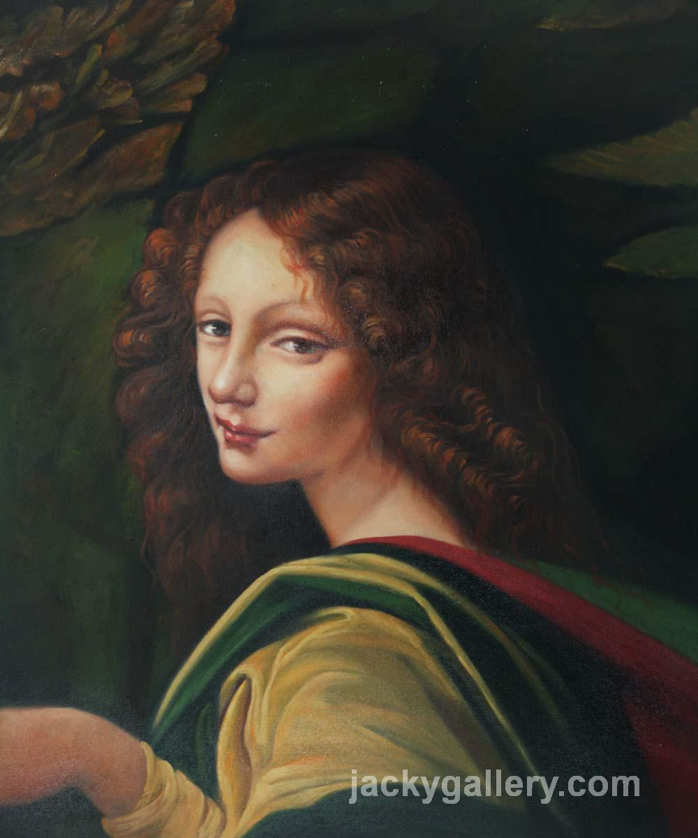 The Virgin of the Rocks (detail - young woman), Leonardo Da Vinci's high quality hand-painted oil painting reproduction