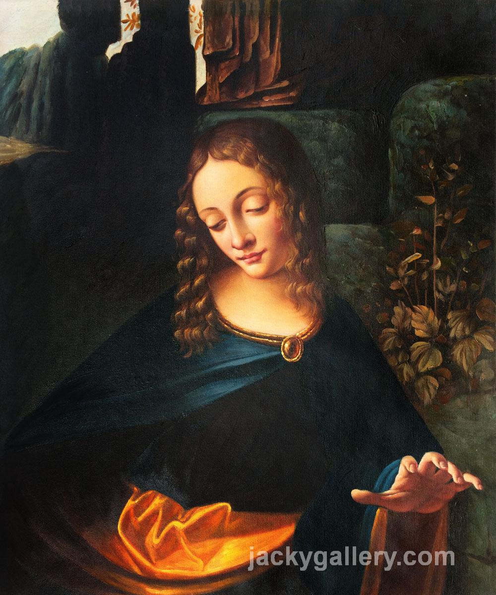 Virgin of the Rocks (Louvre detail), Leonardo Da Vinci's high quality hand-painted oil painting reproduction