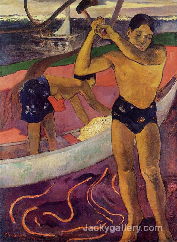 A man with axe by Paul Gauguin paintings reproduction
