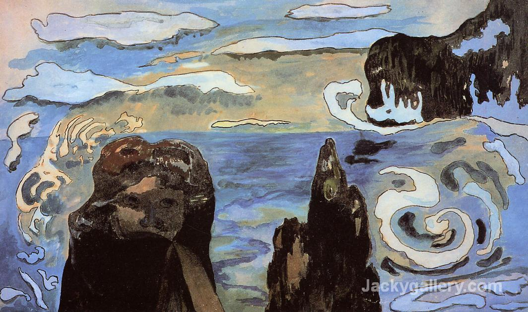 At the Black Rocks by Paul Gauguin paintings reproduction