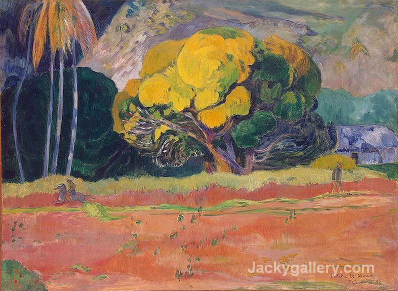 At the Foot of the Mountain by Paul Gauguin paintings reproduction