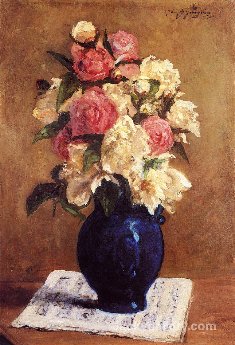 Boquet of Peonies on a Musical Score by Paul Gauguin paintings reproduction