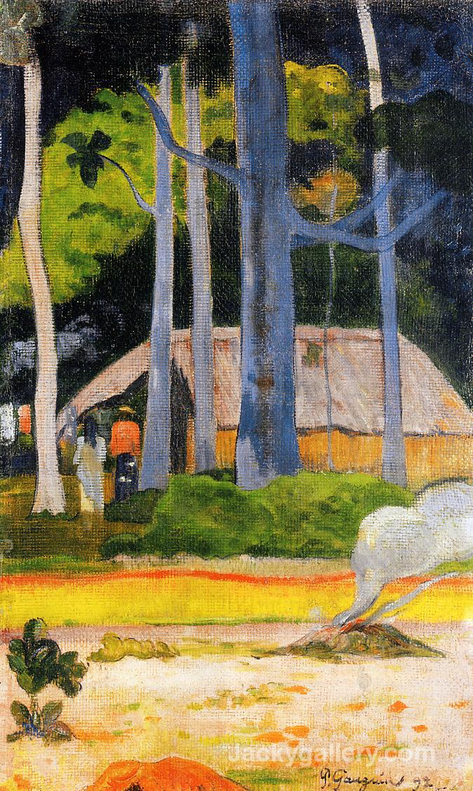 Cabin under the Trees by Paul Gauguin paintings reproduction