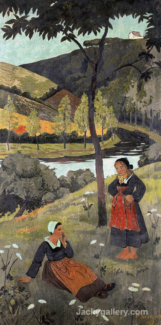 Deux bretonnes au bord de l Aulne by Paul Gauguin paintings reproduction