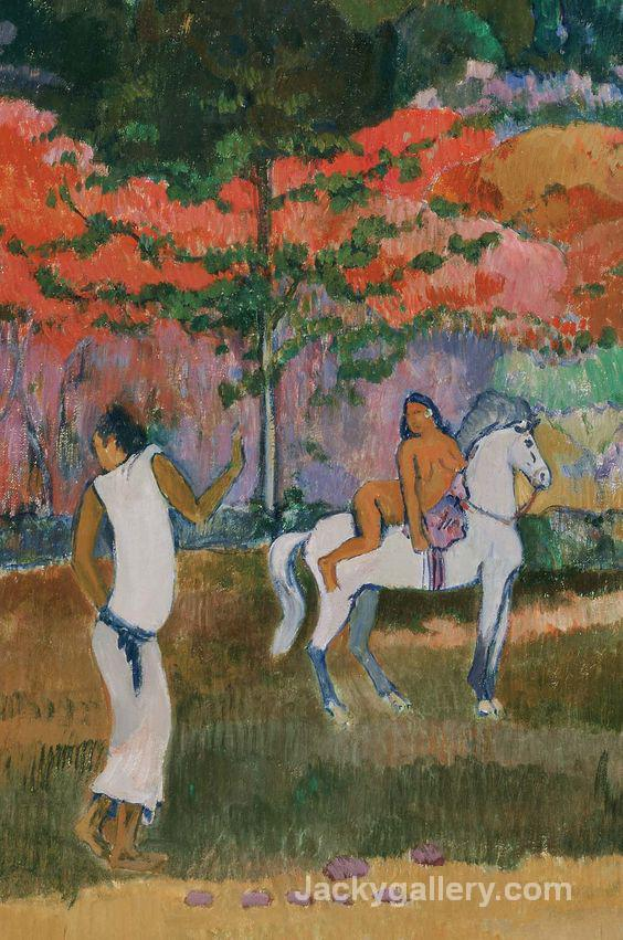 Femme et cheval blanc by Paul Gauguin paintings reproduction