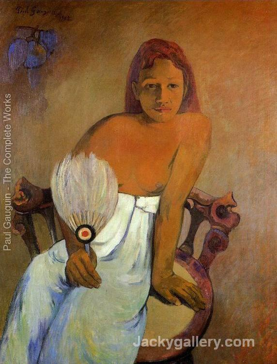 Girl With A Fan by Paul Gauguin paintings reproduction