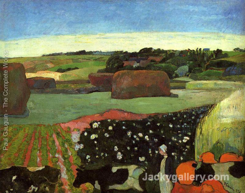 Haystacks In Britanny Aka The Potato Field by Paul Gauguin paintings reproduction
