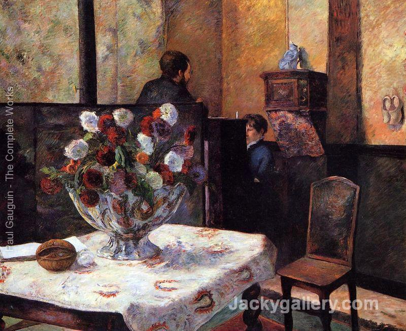Interior Of The Painters House Rue Carcel by Paul Gauguin paintings reproduction