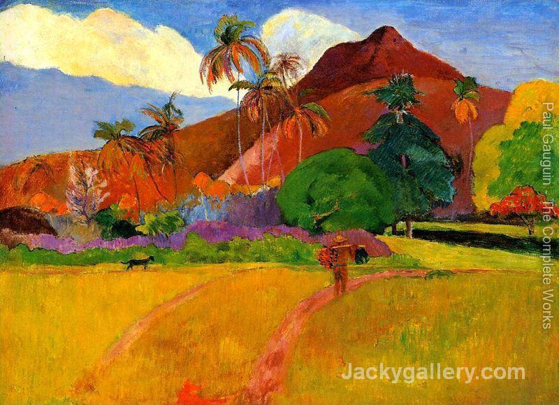 Mountains In Tahiti by Paul Gauguin paintings reproduction