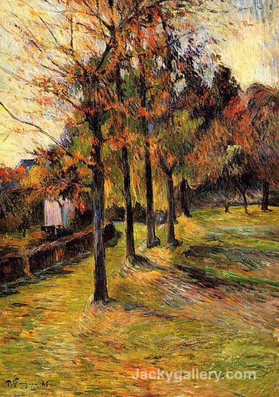 Tree linen road, Rouen by Paul Gauguin paintings reproduction