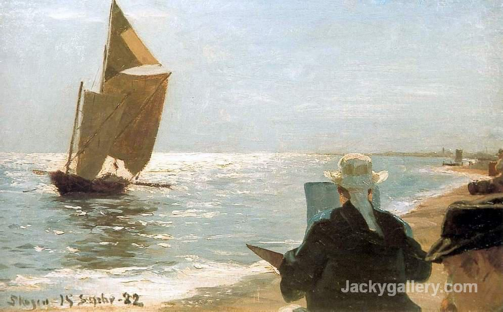 Artists on the Beach by Peder Severin Kroyer paintings reproduction