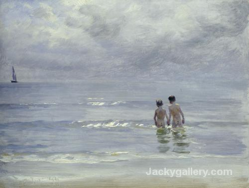 Boys Bathing On The Beach At Skagen by Peder Severin Kroyer paintings reproduction