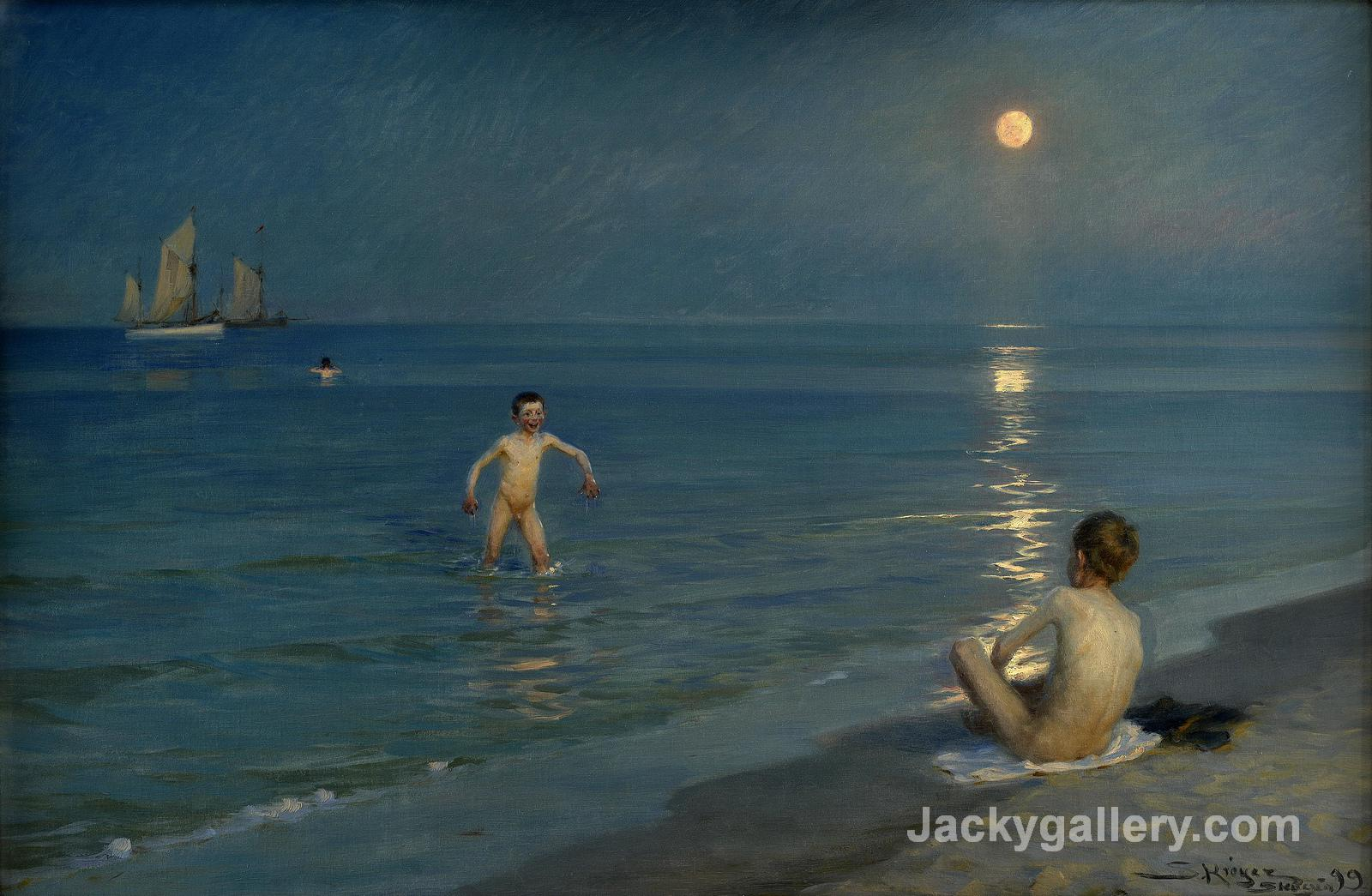 Boys Bathing at Skagen, Summer Evening by Peder Severin Kroyer paintings reproduction