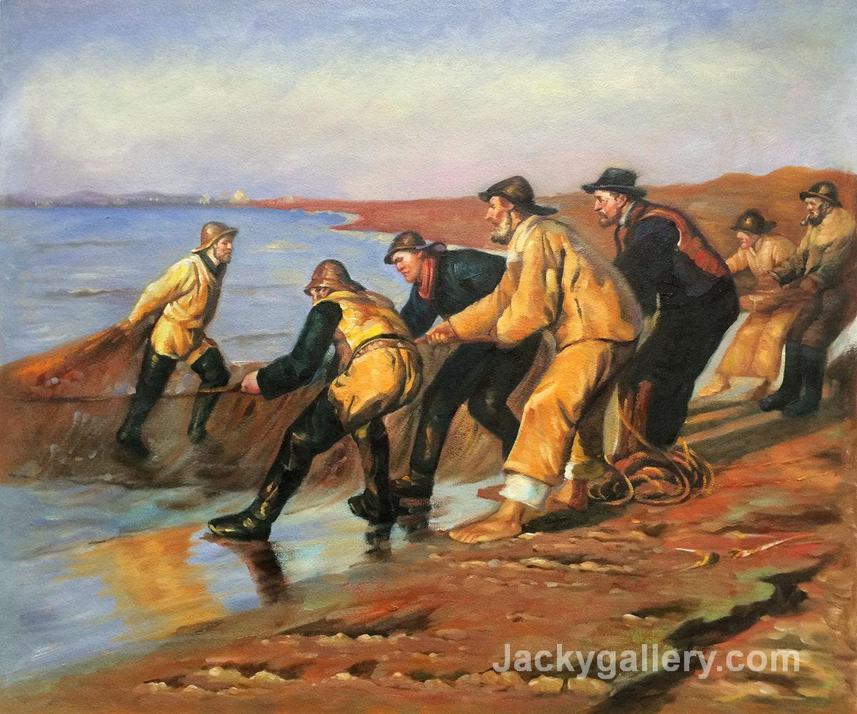 Fishermen Hauling Nets by Peder Severin Kroyer paintings reproduction