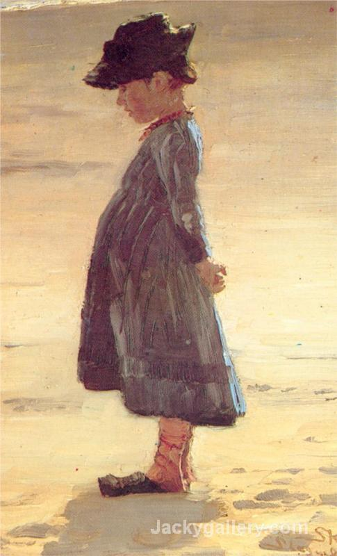 Girl on the Beach by Peder Severin Kroyer paintings reproduction