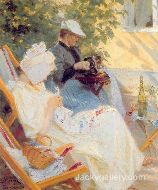 Marie and Her Mother in the Garden by Peder Severin Kroyer paintings reproduction