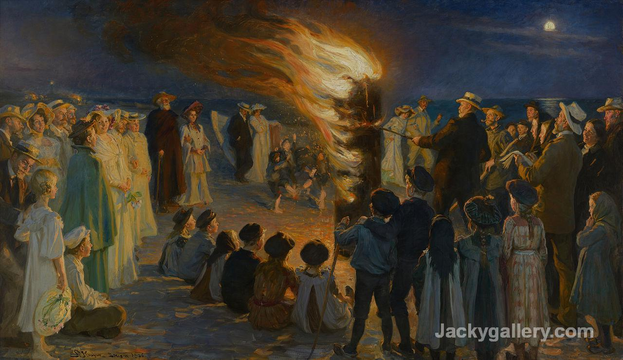 Midsummers Eve Bonfire on Skagens Beach by Peder Severin Kroyer paintings reproduction