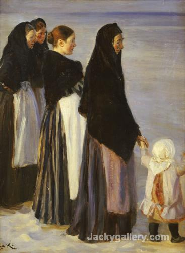 The Departure Of The Fishing Fleet Details by Peder Severin Kroyer paintings reproduction