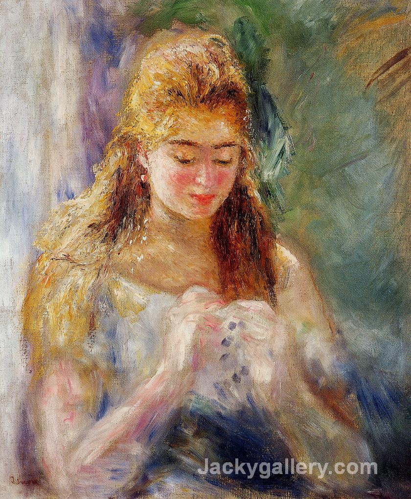 A Needlewoman by Pierre Auguste Renoir paintings reproduction