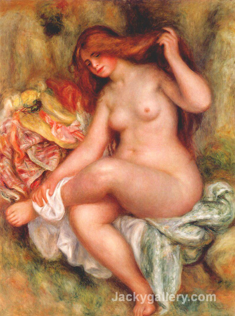 A Seating Bather by Pierre Auguste Renoir paintings reproduction