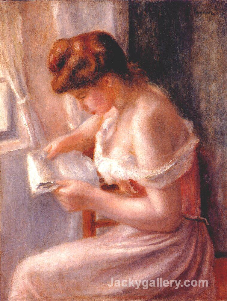 A girl reading by Pierre Auguste Renoir paintings reproduction