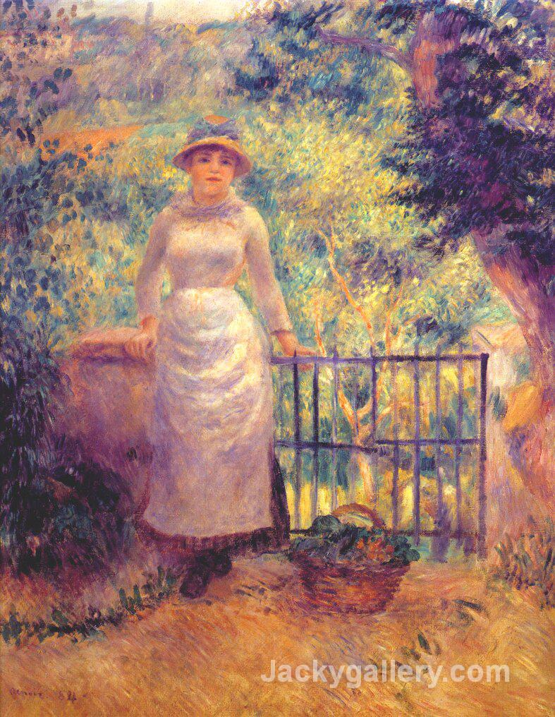 Aline at the gate (girl in the garden) by Pierre Auguste Renoir paintings reproduction