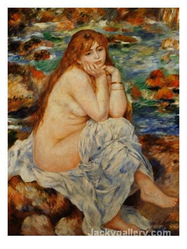 Bather Seated on a Sand Bank by Pierre Auguste Renoir paintings reproduction