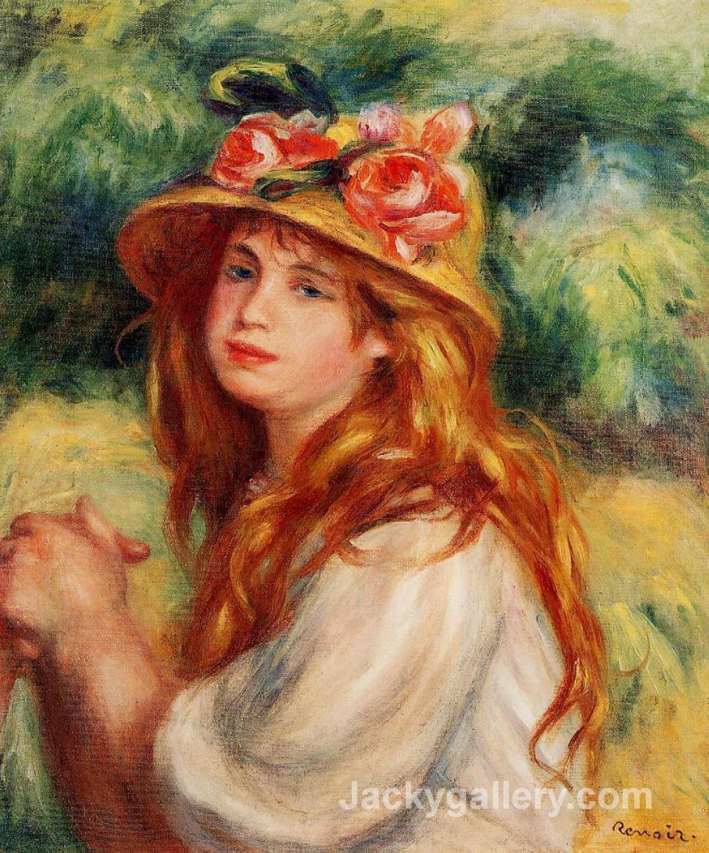 Blond in a Straw Hat(Seated Girl) by Pierre Auguste Renoir paintings reproduction