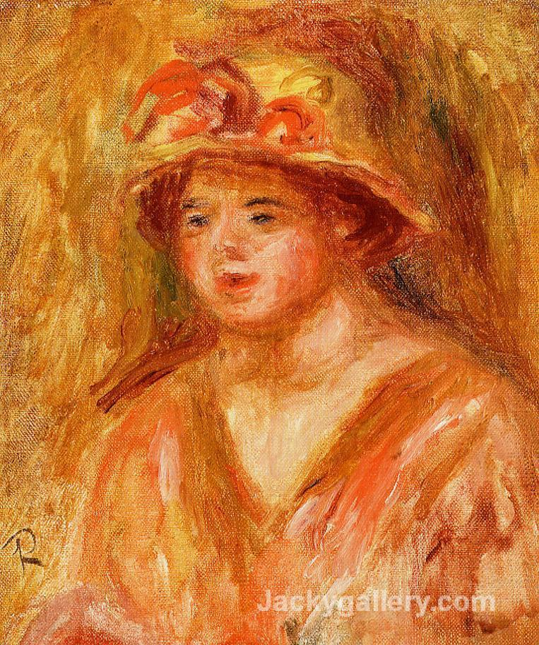 Bust of a Young Girl in a Straw Hat by Pierre Auguste Renoir paintings reproduction