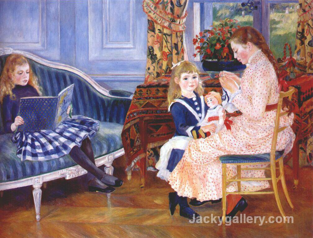 Childrens Afternoon at Wargemont (Marguerite) by Pierre Auguste Renoir paintings reproduction