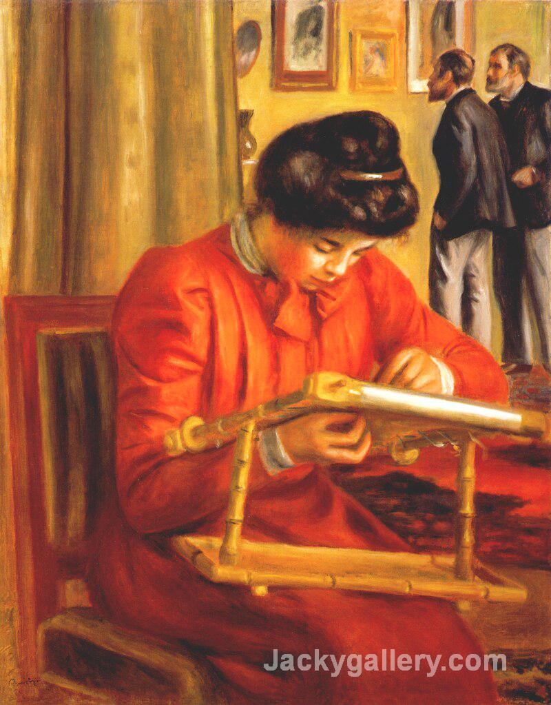 Christine Lerolle Embroidering by Pierre Auguste Renoir paintings reproduction