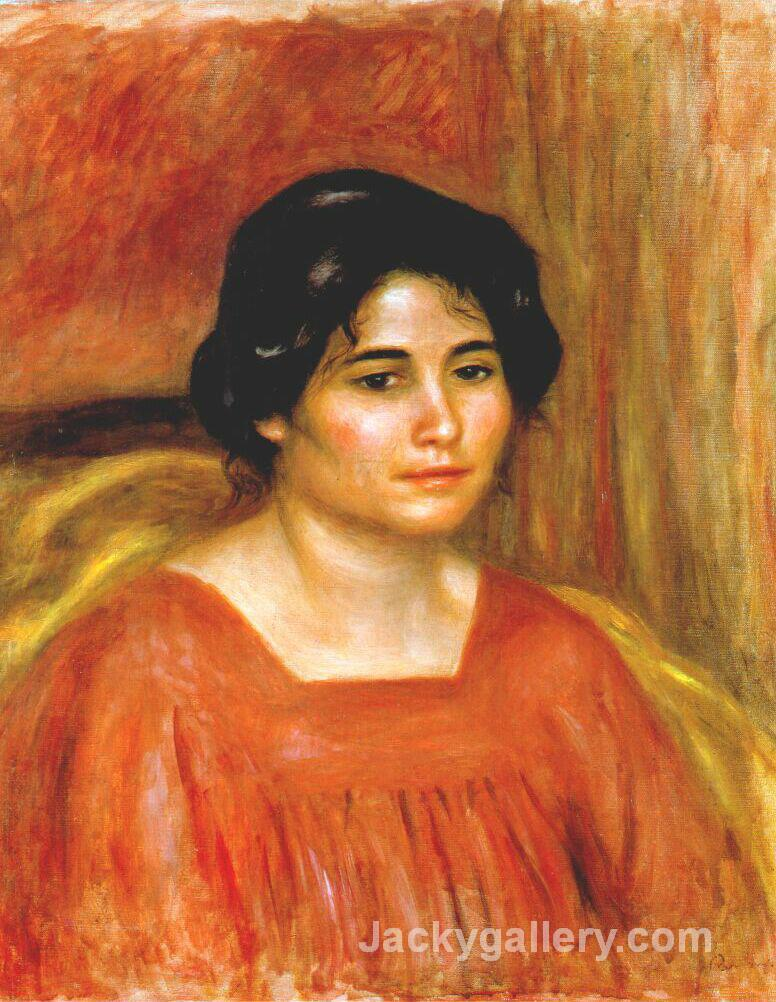 Gabrielle in a Red Blouse by Pierre Auguste Renoir paintings reproduction